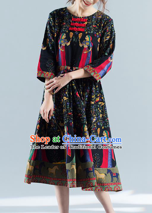 Traditional Ancient Chinese National Costume, Elegant Hanfu Mandarin Qipao Printing Folk Dance Navy Big Swing Dress, China Tang Suit National Minority Upper Outer Garment Elegant Dress Clothing for Women