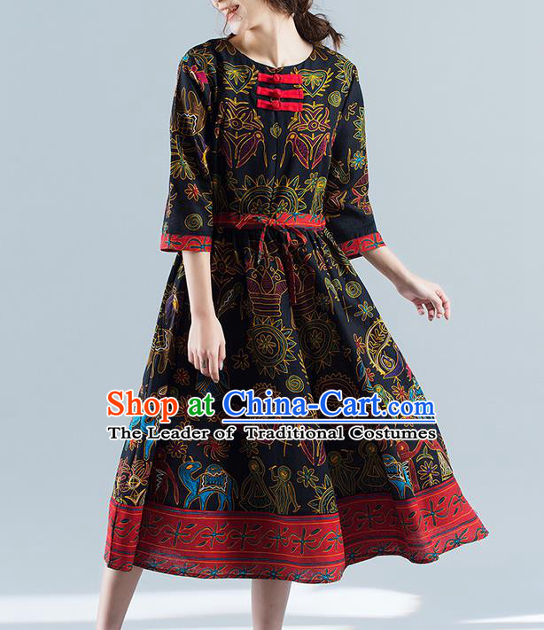 Traditional Ancient Chinese National Costume, Elegant Hanfu Mandarin Qipao Printing Folk Dance Blue Big Swing Dress, China Tang Suit National Minority Upper Outer Garment Elegant Dress Clothing for Women