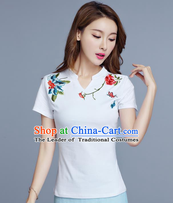 Traditional Chinese National Costume, Elegant Hanfu Embroidery Flowers White Base T-Shirt, China Tang Suit Republic of China Chirpaur Blouse Cheong-sam Upper Outer Garment Qipao Shirts Clothing for Women