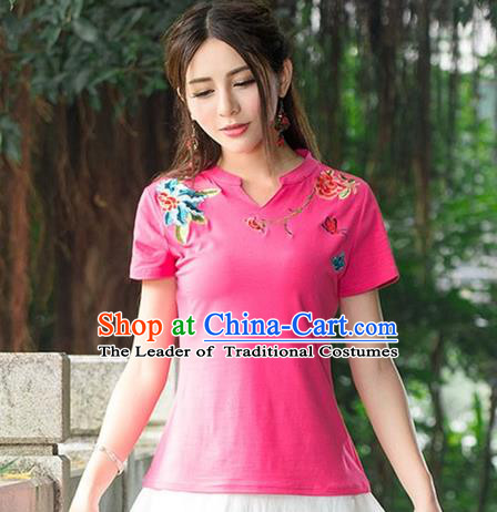Traditional Chinese National Costume, Elegant Hanfu Embroidery Flowers Pink Base T-Shirt, China Tang Suit Republic of China Chirpaur Blouse Cheong-sam Upper Outer Garment Qipao Shirts Clothing for Women