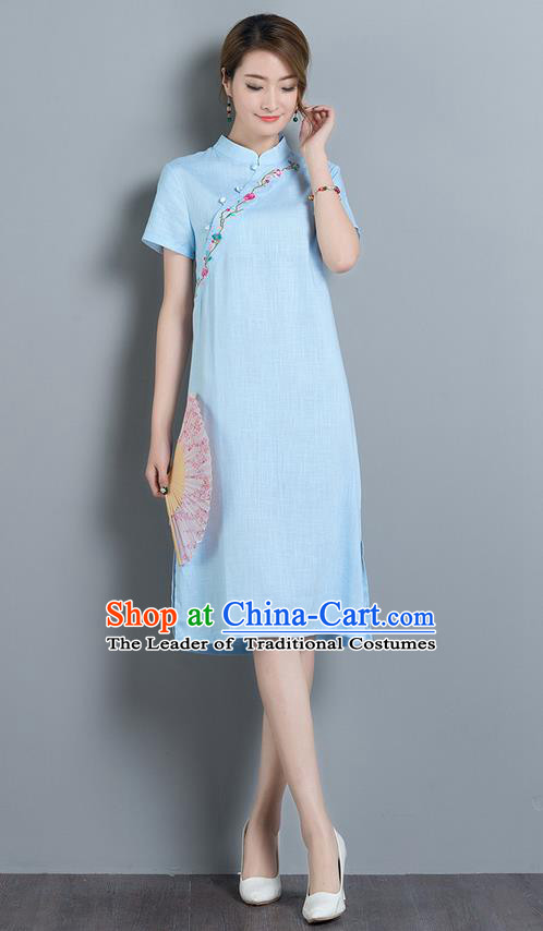 Traditional Ancient Chinese National Costume, Elegant Hanfu Mandarin Qipao Embroidery Stand Collar Blue Dress, China Tang Suit Chirpaur Upper Outer Garment Elegant Dress Clothing for Women