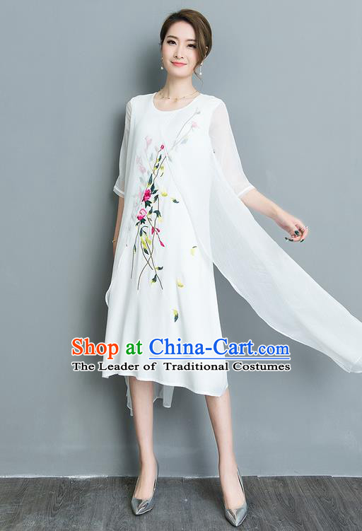 Traditional Ancient Chinese National Costume, Elegant Hanfu Mandarin Qipao Embroidery Double-deck White Silk Dress, China Tang Suit Upper Outer Garment Elegant Dress Clothing for Women