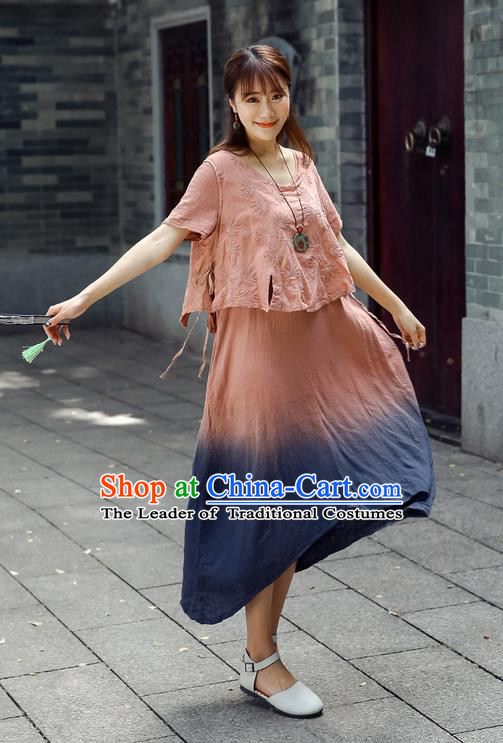 Traditional Chinese Costume, Elegant Hanfu Clothing Pink Blouse and Dress, China Tang Suit Blouse and Skirt Complete Set for Women