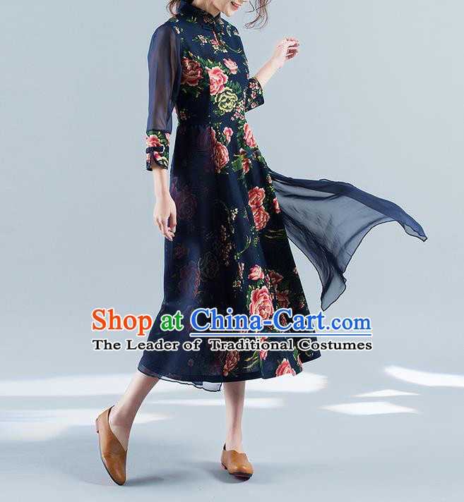 Traditional Ancient Chinese National Costume, Elegant Hanfu Mandarin Qipao Chiffon Printing Black Double-deck Dress, China Tang Suit Chirpaur Republic of China Cheongsam Upper Outer Garment Elegant Dress Clothing for Women