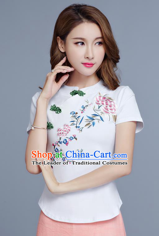 Traditional Chinese National Costume, Elegant Hanfu Embroidery Flowers Slant Opening White T-Shirt, China Tang Suit Plated Buttons Chirpaur Blouse Cheong-sam Upper Outer Garment Qipao Shirts Clothing for Women