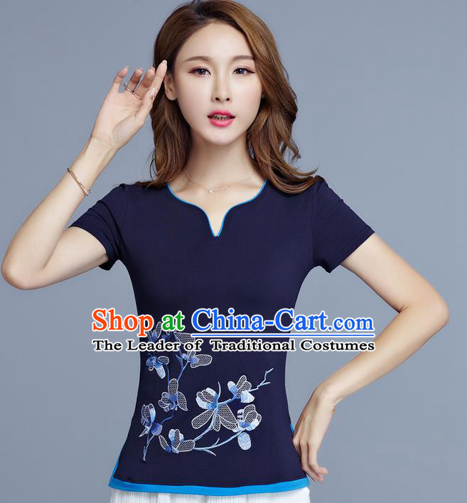 Traditional Chinese National Costume, Elegant Hanfu Embroidery Flowers Navy T-Shirt, China Tang Suit Cheong-sam Upper Outer Garment Qipao Shirts Clothing for Women
