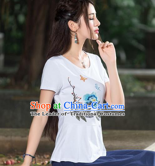 Traditional Chinese National Costume, Elegant Hanfu Embroidery White T-Shirt, China Tang Suit Cheong-sam Upper Outer Garment Qipao Shirts Clothing for Women