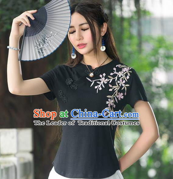 Traditional Chinese National Costume, Elegant Hanfu Embroidery Stand Collar Black T-Shirt, China Tang Suit Cheong-sam Blouse Upper Outer Garment Qipao Shirts Clothing for Women