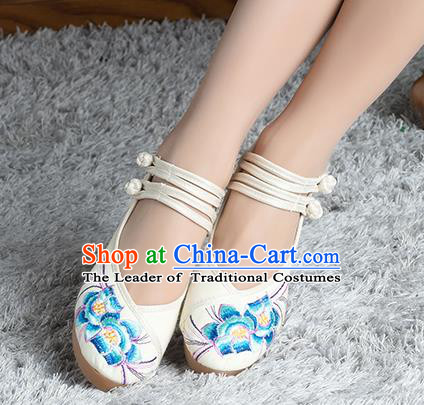 Traditional Chinese Shoes, China Handmade Embroidered White Height Increasing Shoes, Ancient Princess Shoes for Women