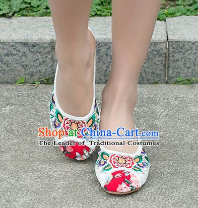 Traditional Chinese Shoes, China Handmade Embroidered Slippers White Shoes, Ancient Princess Linen Shoes for Women