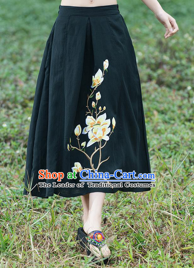 Traditional Ancient Chinese National Pleated Skirt Costume, Elegant Hanfu Linen Embroidery Long Black Dress, China Tang Suit Bust Skirt for Women