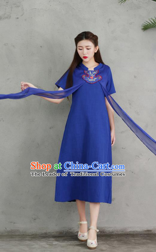 Traditional Ancient Chinese National Costume, Elegant Hanfu Embroidery Blue Stand Collar Dress, China Tang Suit Chirpaur Upper Outer Garment Elegant Dress Clothing for Women