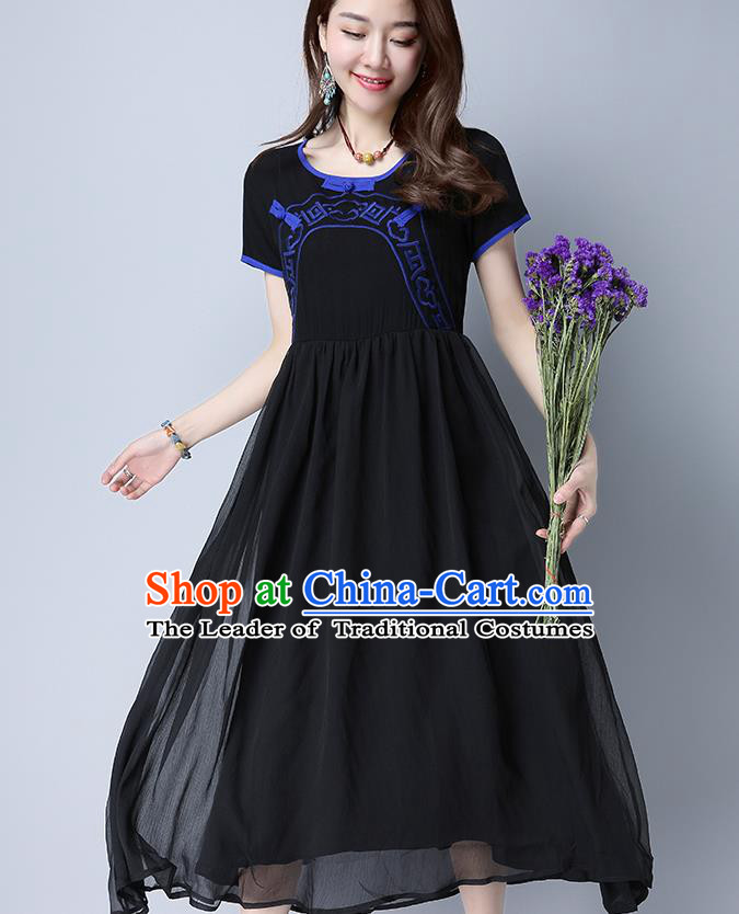 Traditional Ancient Chinese National Costume, Elegant Hanfu Embroidery Black Dress, China Tang Suit Chirpaur Upper Outer Garment Elegant Dress Clothing for Women