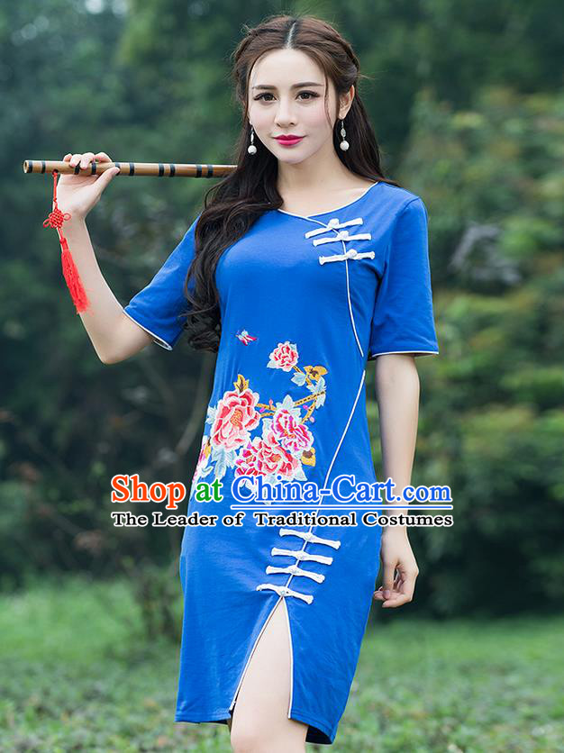 Traditional Ancient Chinese National Costume, Elegant Hanfu Mandarin Qipao Embroidered Blue Dress, China Tang Suit Chirpaur Republic of China Cheongsam Elegant Dress Clothing for Women