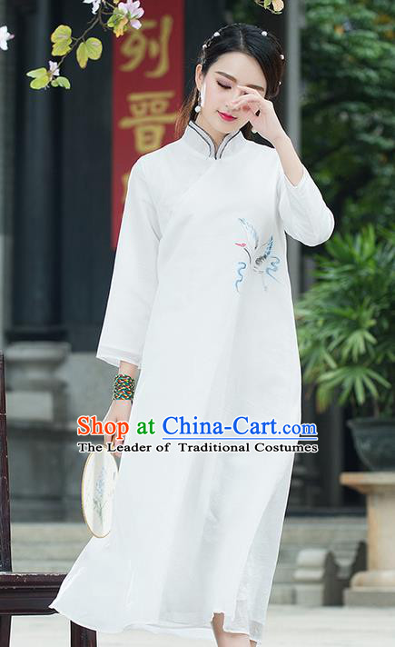 Traditional Ancient Chinese National Costume, Elegant Hanfu Mandarin Qipao Linen Hand Painting Crane White Dress, China Tang Suit Chirpaur Republic of China Cheongsam Upper Outer Garment Elegant Dress Clothing for Women