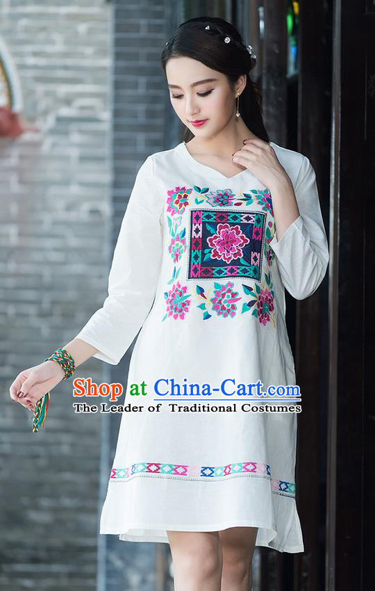 Traditional Ancient Chinese National Costume, Elegant Hanfu Mandarin Qipao Linen Embroidery White Dress, China Tang Suit Chirpaur Elegant Dress Clothing for Women