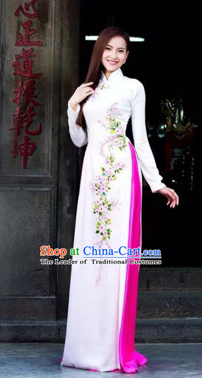Top Grade Asian Vietnamese Traditional Dress, Vietnam Bride Ao Dai Dress, Princess Wedding Printing White Cheongsam Clothing for Women