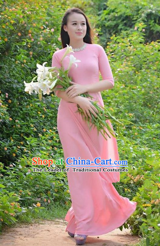 Top Grade Asian Vietnamese Traditional Dress, Vietnam Bride Ao Dai Dress, Princess Wedding Printing Two-piece Pink Dress and Pants Cheongsam Clothing for Women