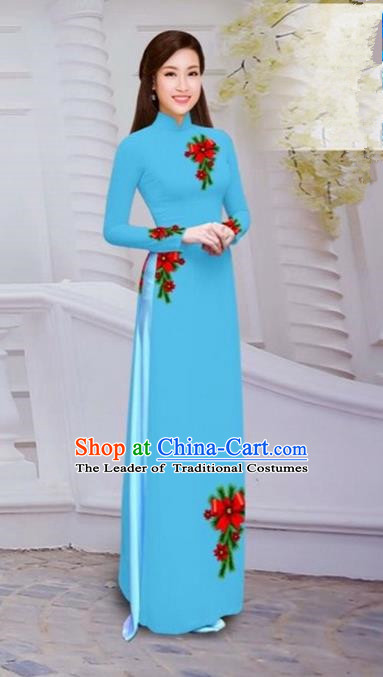 Top Grade Asian Vietnamese Traditional Dress, Vietnam Bride Ao Dai Hand Printing Flowers Dress, Vietnam Princess Blue Dress Cheongsam Clothing for Women