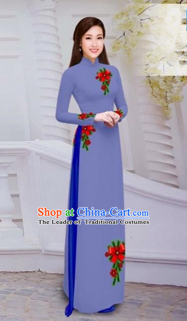 Top Grade Asian Vietnamese Traditional Dress, Vietnam Bride Ao Dai Hand Printing Flowers Dress, Vietnam Princess Purple Dress Cheongsam Clothing for Women