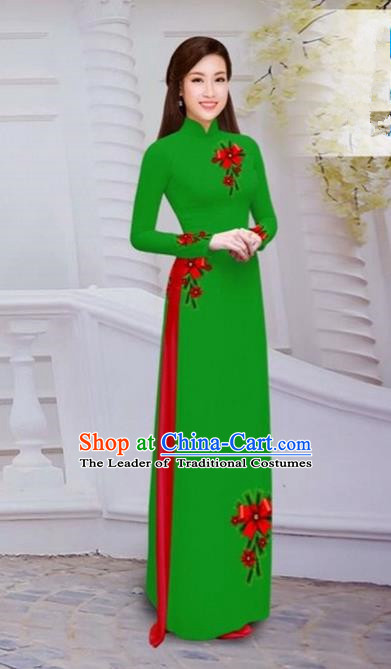 Top Grade Asian Vietnamese Traditional Dress, Vietnam Bride Ao Dai Hand Printing Flowers Dress, Vietnam Princess Green Dress Cheongsam Clothing for Women