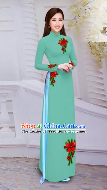 Top Grade Asian Vietnamese Traditional Dress, Vietnam Bride Ao Dai Hand Printing Flowers Dress, Vietnam Princess Light Green Dress Cheongsam Clothing for Women