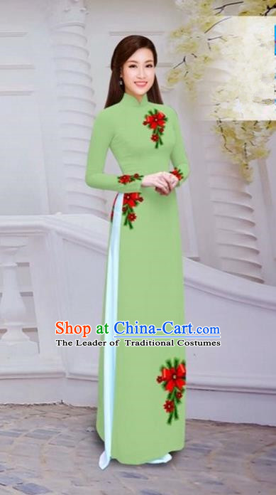 Top Grade Asian Vietnamese Traditional Dress, Vietnam Bride Ao Dai Hand Printing Flowers Dress, Vietnam Princess Fluorescent Green Dress Cheongsam Clothing for Women