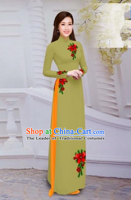 Top Grade Asian Vietnamese Traditional Dress, Vietnam Bride Ao Dai Hand Printing Flowers Dress, Vietnam Princess Olive Green Dress Cheongsam Clothing for Women