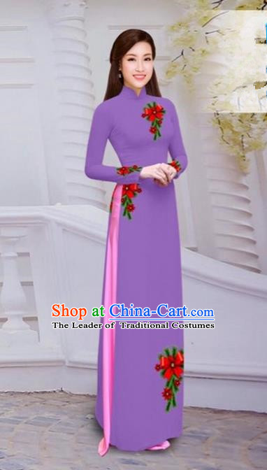 Top Grade Asian Vietnamese Traditional Dress, Vietnam Bride Ao Dai Hand Printing Flowers Dress, Vietnam Princess Deep Purple Dress Cheongsam Clothing for Women
