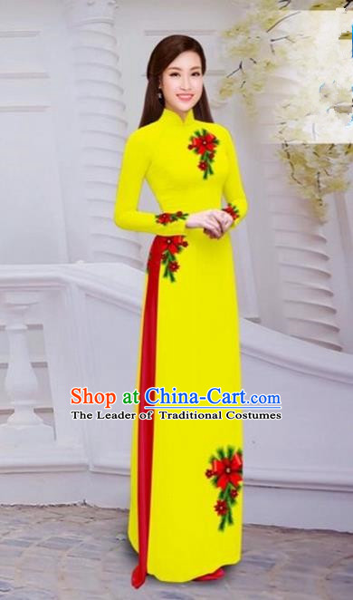 Top Grade Asian Vietnamese Traditional Dress, Vietnam Bride Ao Dai Hand Printing Flowers Dress, Vietnam Princess Yellow Dress Cheongsam Clothing for Women