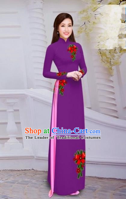 Top Grade Asian Vietnamese Traditional Dress, Vietnam Bride Ao Dai Hand Printing Flowers Dress, Vietnam Princess Amaranth Dress Cheongsam Clothing for Women