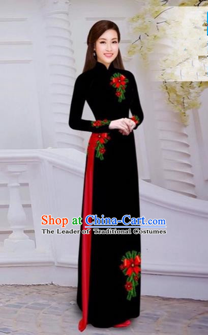 Top Grade Asian Vietnamese Traditional Dress, Vietnam Bride Ao Dai Hand Printing Flowers Dress, Vietnam Princess Black Dress Cheongsam Clothing for Women