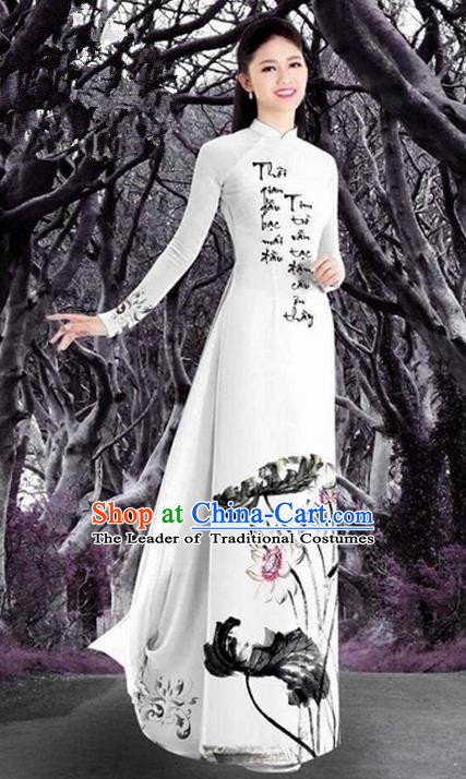 Top Grade Asian Vietnamese Traditional Dress, Vietnam Bride Ao Dai Ink Printing Lotus Flowers Dress, Vietnam Princess Dress Cheongsam Clothing for Women