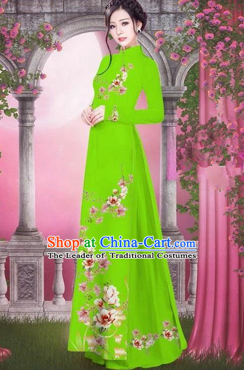 Top Grade Asian Vietnamese Traditional Dress, Vietnam Bride Ao Dai Printing Peach Blossom Flowers Dress, Vietnam Princess Light Green Dress Cheongsam Clothing for Women