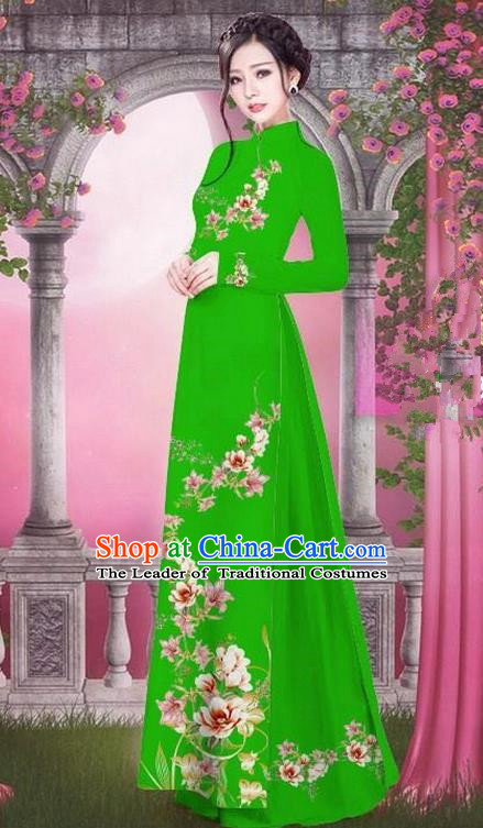 Top Grade Asian Vietnamese Traditional Dress, Vietnam Bride Ao Dai Printing Peach Blossom Flowers Dress, Vietnam Princess Green Dress Cheongsam Clothing for Women