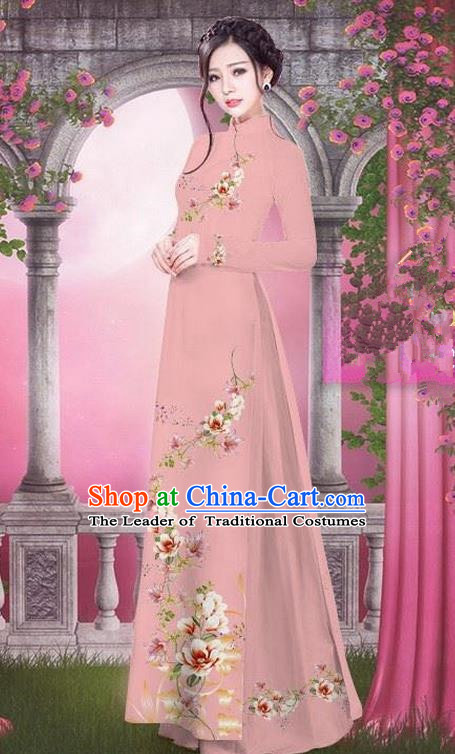 Top Grade Asian Vietnamese Traditional Dress, Vietnam Bride Ao Dai Printing Peach Blossom Flowers Dress, Vietnam Princess Fleshcolor Dress Cheongsam Clothing for Women