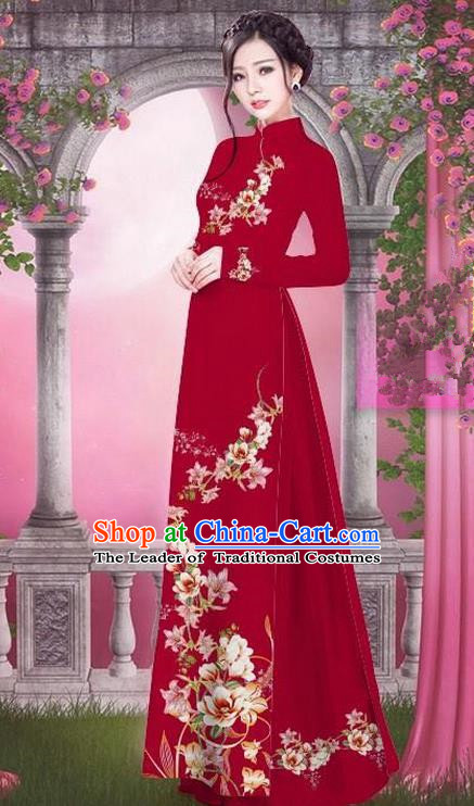 Top Grade Asian Vietnamese Traditional Dress, Vietnam Bride Ao Dai Printing Peach Blossom Flowers Dress, Vietnam Princess Wine Red Dress Cheongsam Clothing for Women