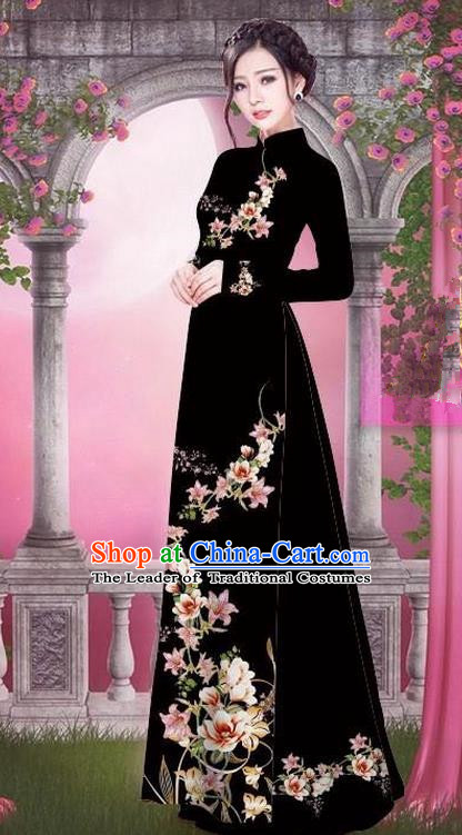 Top Grade Asian Vietnamese Traditional Dress, Vietnam Bride Ao Dai Printing Peach Blossom Flowers Dress, Vietnam Princess Black Dress Cheongsam Clothing for Women