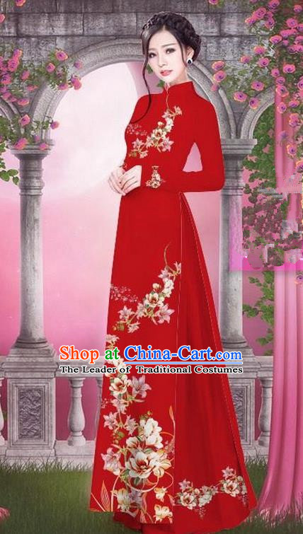 Top Grade Asian Vietnamese Traditional Dress, Vietnam Bride Ao Dai Printing Peach Blossom Flowers Dress, Vietnam Princess Red Dress Cheongsam Clothing for Women
