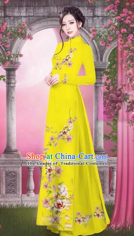 Top Grade Asian Vietnamese Traditional Dress, Vietnam Bride Ao Dai Printing Peach Blossom Flowers Dress, Vietnam Princess Yellow Dress Cheongsam Clothing for Women