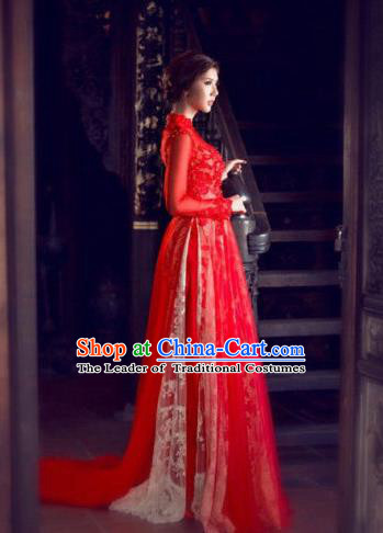 Top Grade Asian Vietnamese Traditional Dress, Vietnam Bride Ao Dai Dress, Vietnam Princess Wedding Lace Veil Dress Red Cheongsam Clothing for Women