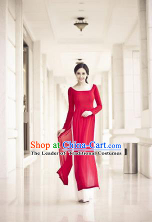 Top Grade Asian Vietnamese Traditional Dress, Vietnam Bride Ao Dai Dress, Vietnam Princess Wedding Red Dress Cheongsam Clothing for Women