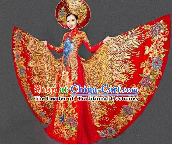 Top Grade Asian Vietnamese Traditional Dress, Vietnam Bride Ao Dai Dress, Vietnam Princess Wedding Hand Painting Phoenix Dress Cheongsam Clothing for Women