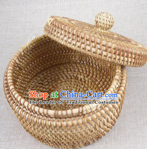 Top Asian Vietnamese Traditional Rattan Plaited Articles, Vietnam Tea Caddy Handicraft Candy Jar Canister