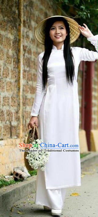 Top Grade Asian Vietnamese Traditional Dress, Vietnam Bride Ao Dai Dress, Vietnam Princess Wedding White Silk Dress Cheongsam Clothing for Women