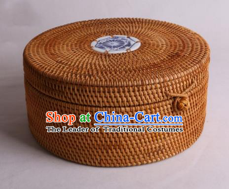 Top Asian Vietnamese Traditional Rattan Plaited Articles, Vietnam Blue and White Porcelain Tea Caddy Handicraft Canister