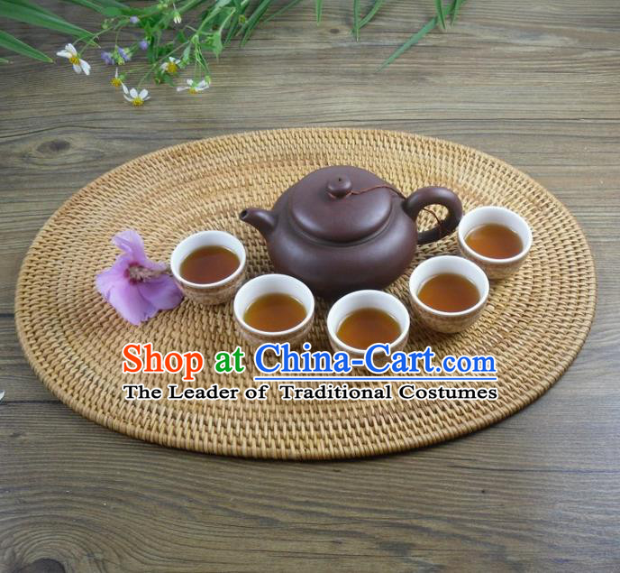 Top Asian Vietnamese Traditional Rattan Plaited Articles Insulation Mat, Vietnam Handicraft Teacup Mat Tea Tray