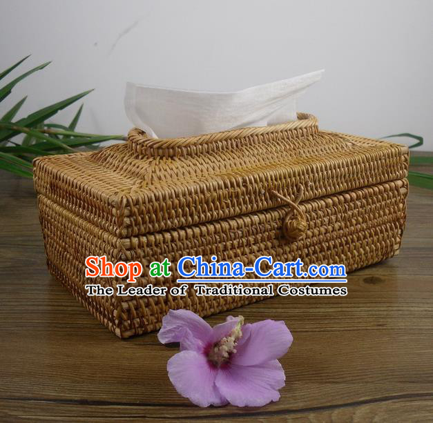 Top Asian Vietnamese Traditional Rattan Plaited Articles Tissue Box, Vietnam Handicraft Tissue Holder