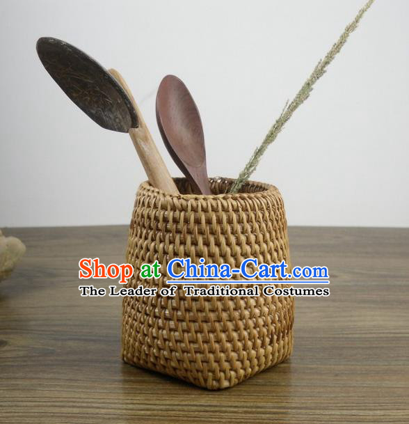 Top Asian Vietnamese Traditional Rattan Plaited Articles Storage Box, Vietnam Handicraft Brush Pot Vase