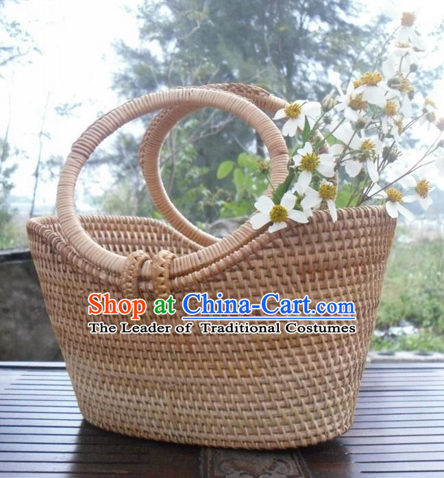 Top Asian Vietnamese Traditional Rattan Plaited Articles Bags, Vietnam Handicraft Basket
